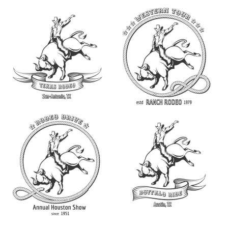 riding: Set of vintage Rodeo labels. Bull riding Emblem and design elements.