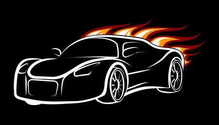 Modern Sport Car Emblem Burning Car Isolated On Black Royalty Free