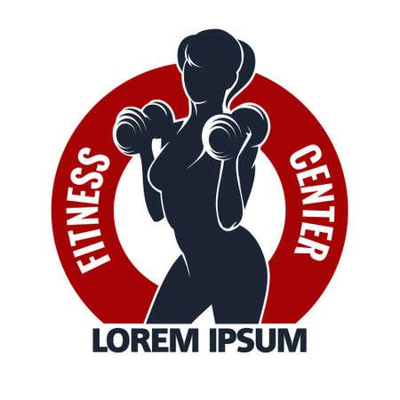 gimnasio mujeres: Fitness Club o Gimnasio emblema con la formación musculosa mujer. La mujer sostiene pesas. Sólo Fuente libre uso. Aislado en el fondo blanco.