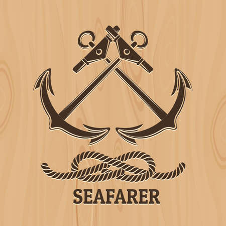 Crossed Anchor and Rope Knot. Nautical emblem with lettering Seafarer. Illustration in Spirography style. Free Font used.