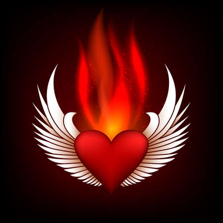 burning heart: Burning heart with wings in flame tips. Grunge style. Colorful illustration. Illustration