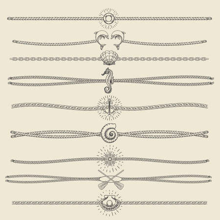 border: Set of nautical ropes and chains decor elements in hipster style. Hand drawn dividers and borderswith dolphins seashells seahorse pearl oars etc. Only free font used. Illustration
