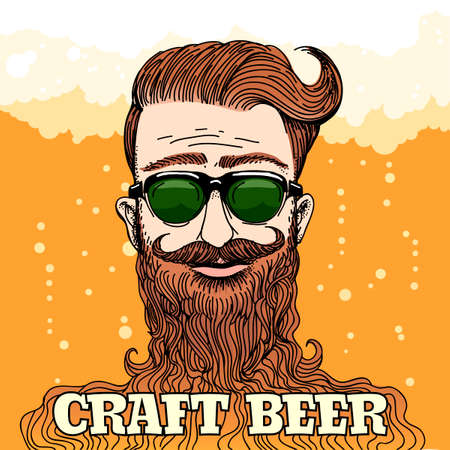 craft: Hipster Head with huge beard with lettering Craft beer against beer foam and bubbles. Colorful illustration in retro style.