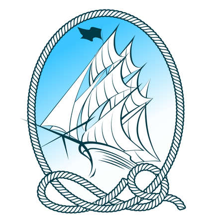 tall: Sail Ship in rope frame. Nautical emblem.