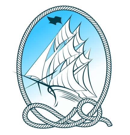 Vela de la nave en el marco de la cuerda. emblema náutico.