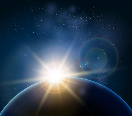 Rising Sun over the planet Earth. Illustration in realistic style