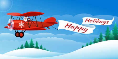 Santa on the plane with banner Happy Holidays. Illustration in cartoon style. Stock Illustratie