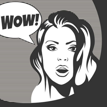wow: Wow bubble surprised woman face with open mouth. Black and white illustration in retro style.