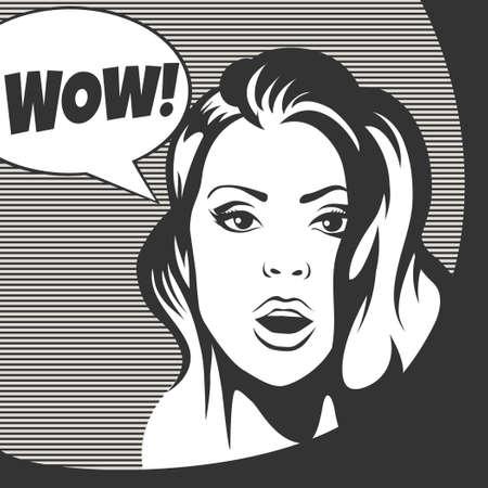 wow: Wow burbuja sorprendió cara de la mujer con la boca abierta. Ilustración en blanco y negro de estilo retro.