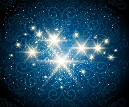 Donker blauwe achtergrond met glanzende sterren tegen seethrough wervelingenpatroon Stockfoto