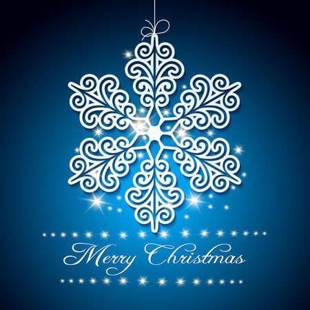 Feestelijke achtergrond met sneeuwvlok en tekst Vrolijke Kerstmis. Gratis lettertype gebruikt.