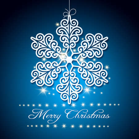 Christmas Festive Background with snowflake and wording Merry Christmas. Free font used. Illustration