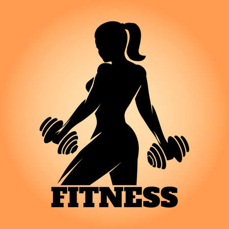 woman: Fitness club and gym banner or poster design. Silhouette of athletic woman with dumbbells. Free font used. Illustration