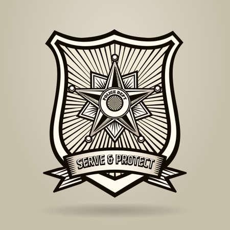 Credencial de Policía con la redacción de servir y proteger. Ilustración en estilo de grabado. Fuente libre usado. Ilustración de vector