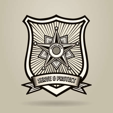Police Badge with wording Serve and Protect. Illustration in Engraving Style . Free font used. Иллюстрация