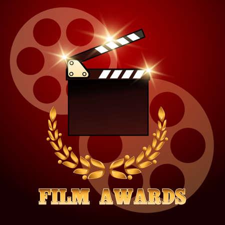 nomination: Film Award Poster design.Clapper board and laurel wreath. Colorful illustration Illustration
