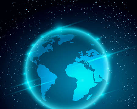 earth from space: Planet Earth illustration. Shining Globe flying in the Space.