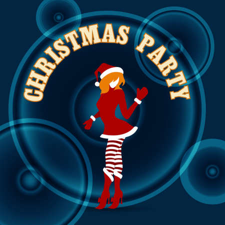 santa girl: Santa Girl silhouette against loud speakers on dark background and wording Christmas Party. Illustration