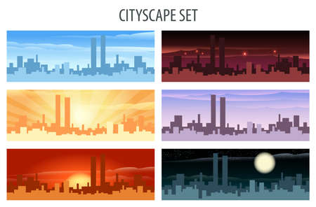 daylight: Abstract city scape scene set. Daylight, twilight, midnight, evening, sunset and sunrise view.