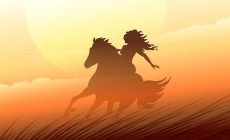 prairie: Woman riding a horse on the prairie. Colorful illustration.
