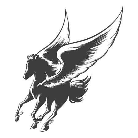 pegaso: caballo alado Pegaso. Ilustraci�n de estilo de grabado. Vectores