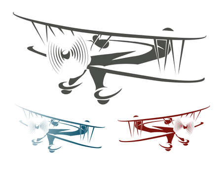 in front: Flying Retro Airplane Emblem Set. Biplane in three color variations. Isolated on white. Illustration