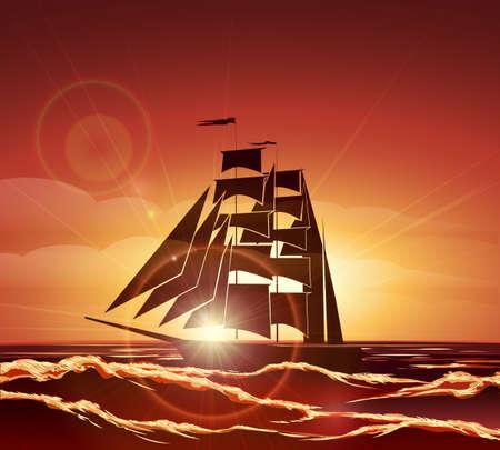 sailer: Sailing boat at Sunset. Colorful illustration. Illustration
