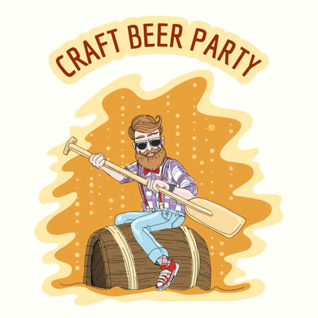 Craft Beer party Emblem. Hipster with an oar floats on a beer barrel. Free font used Illustration