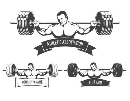 exercise silhouette: Athletic Club or Gym emblem set. Bodybuilder with barbell and banner for your text. Free font used. Illustration