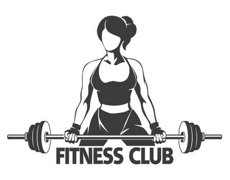 barbell: Fitness or Gym center emblem. Athletic woman silhouette with barbell. Power lifting exercises concept. Free font used. Isolated on white.