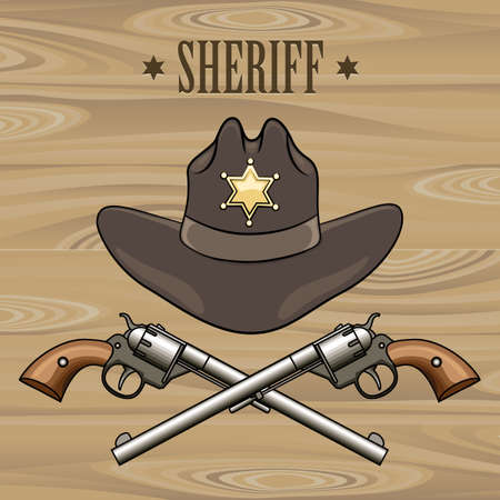 Sheriff hat and crossed revolvers. Illustration in cartoon style.