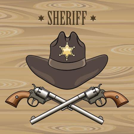 Sheriff-Hut und gekreuzten Revolver. Illustration im Cartoon-Stil. Vektorgrafik