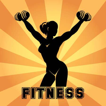 Fitness club en een fitnessruimte embleem of poster design. Silhouet van de atletische vrouw met halters. Gratis lettertype gebruikt.