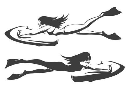 bob: Sea bob diving club emblem set. Girls in swimwear drive underwater scooteer. Isolated on white.