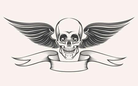 Schedel met vleugels en lint. Illustratie in graveren stijl. Geïsoleerd op wit.