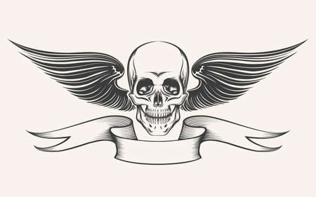 Cráneo con las alas y la cinta. Ilustración de estilo de grabado. Aislado en blanco.