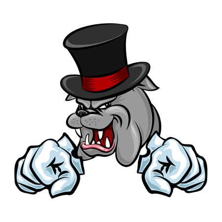 british bulldog: Bulldog in hat and paws in gloves. Cartoon style. Isolated on white. Illustration