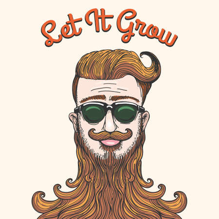 style goatee: Hipster with huge beard and wording Let It Grow. Humorous Sketch style illustration. Free font used.