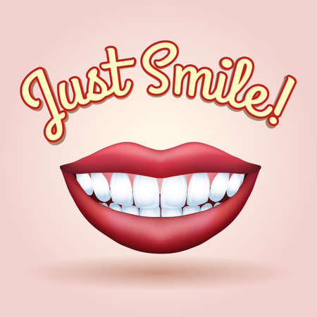 human mouth: Smiling mouth with healthy teeth and wording Just Smile. Free font used.
