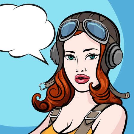 パイロット ヘルメットや空の吹き出しで美しい少女。コミック ピンのアップ スタイル。  イラスト・ベクター素材