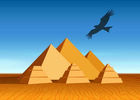paysage égyptien avec des pyramides anciennes et voler aigle.