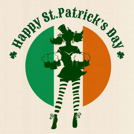 irish pub label: Girl with beer silhouette against irish colors. St. Patricks Day Party logo or emblem.
