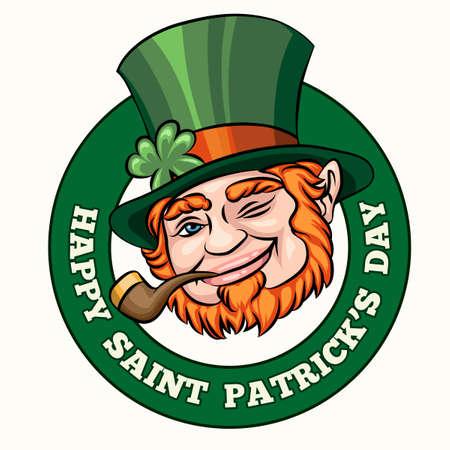 Leprechaun with smoking pipe Saint Patrics Day badge or emblem. Free font used. Isolated on white