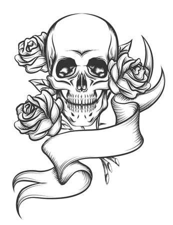 rosas negras: cr�neo humano con rosas y la cinta blanc. Illustaration en estilo del tatuaje aislado en el fondo blanco Vectores