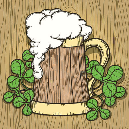 foam hand: Beer Mug full of beer with a lot of foam. Hand drawn retro style.