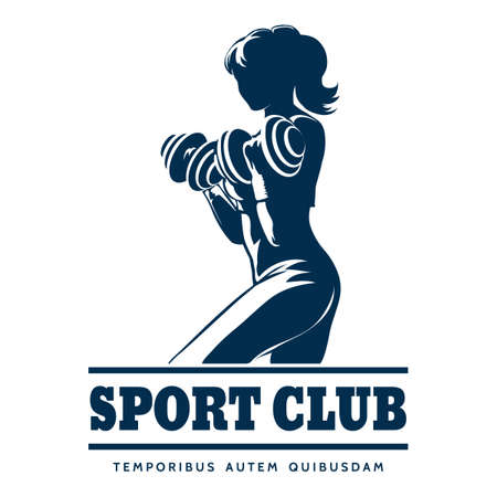 Sport or fitness club emblem. Silhouette of athletic woman with dumbbells. Free font used. Illustration