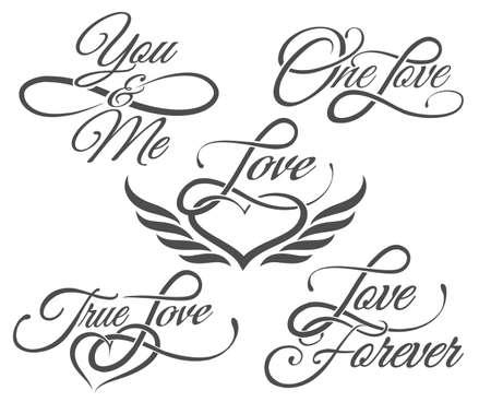 Conjunto de amor de las letras en el estilo del tatuaje. Aislado en blanco. Ilustración de vector