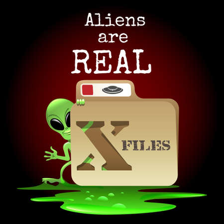 look out: The smiling alien look out of X file with wording Aliens are real. Free font used.