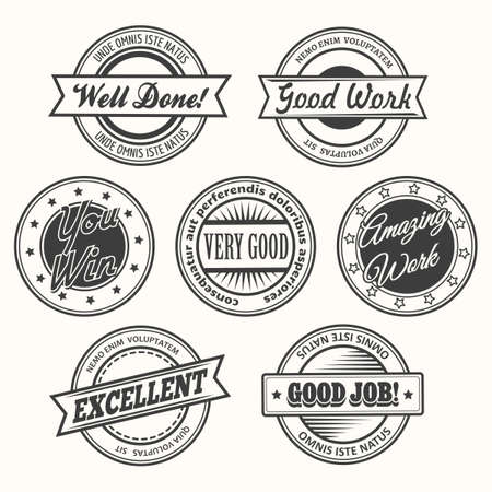 bisiness: Success motivational and inspirational creative stamps or badges set. Isolated on white. Free font used