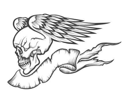 Winged human skull with banner drawn in engraving style. Isolated on white.